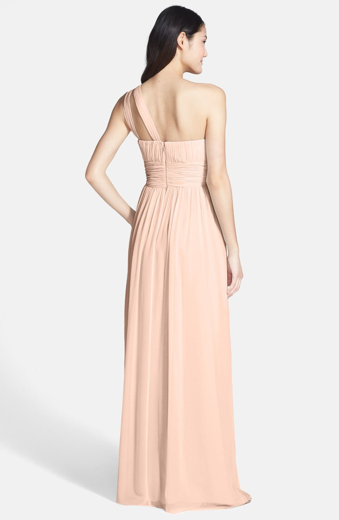,                             'Rachel' Ruched One-Shoulder Chiffon Gown,                             Alternate thumbnail 140, color,                             900