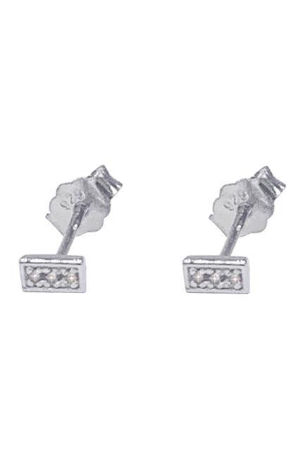 Image of ADORNIA Fine Sterling Silver Diamond Baguete Stud Earrings - 0.10 ctw