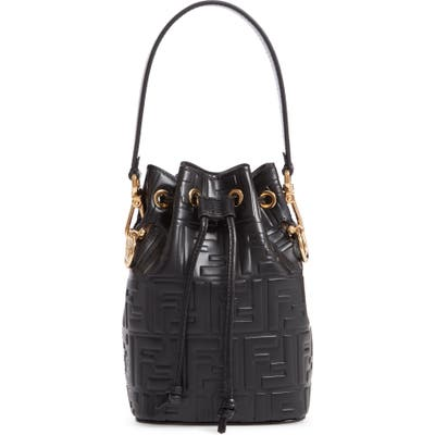 Fendi Mini Mon Tresor Logo Leather Bucket Bag -