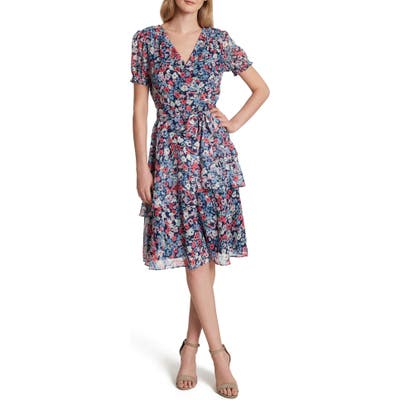 Petite Tahari Floral Print Metallic Clip Dot Faux Wrap Dress, Blue