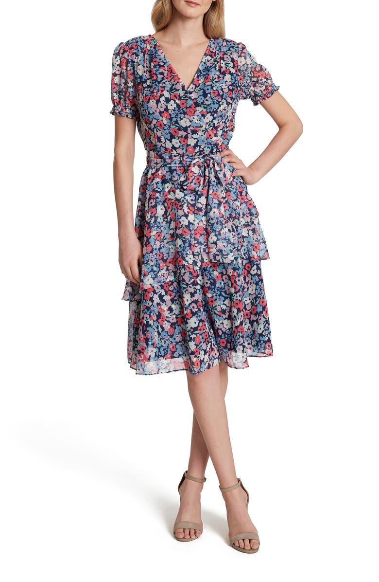 TAHARI Floral Print Metallic Clip Dot Faux Wrap Dress, Main, color, 400