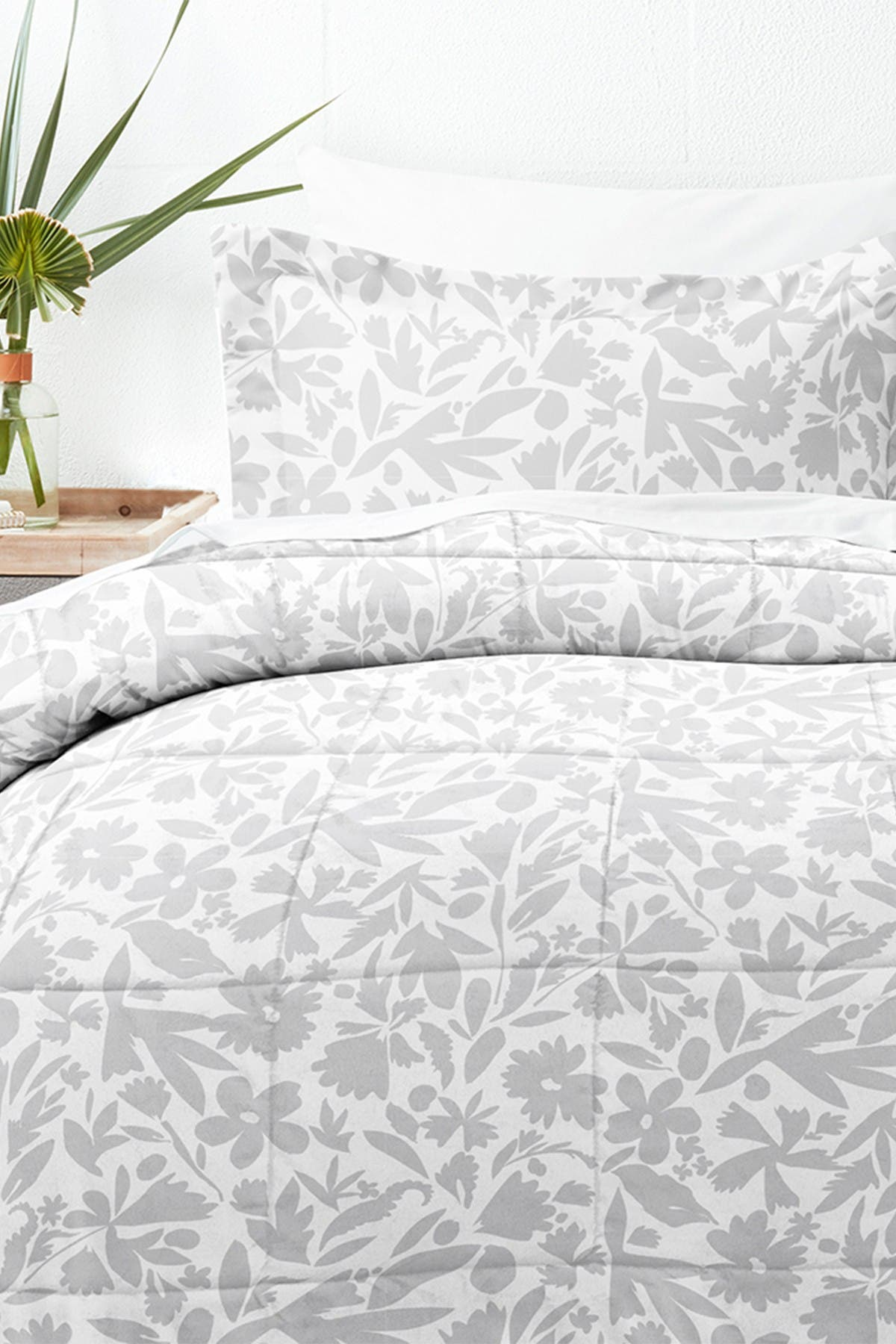 Ienjoy Home Home Collection Premium Down Alternative Abstract Garden Patterned Comforter Set Light Gray Twin Nordstrom Rack