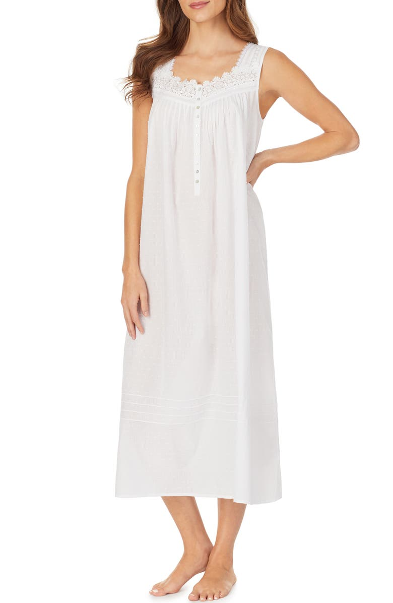 EILEEN WEST Clip Dot Woven Nightgown, Main, color, 100