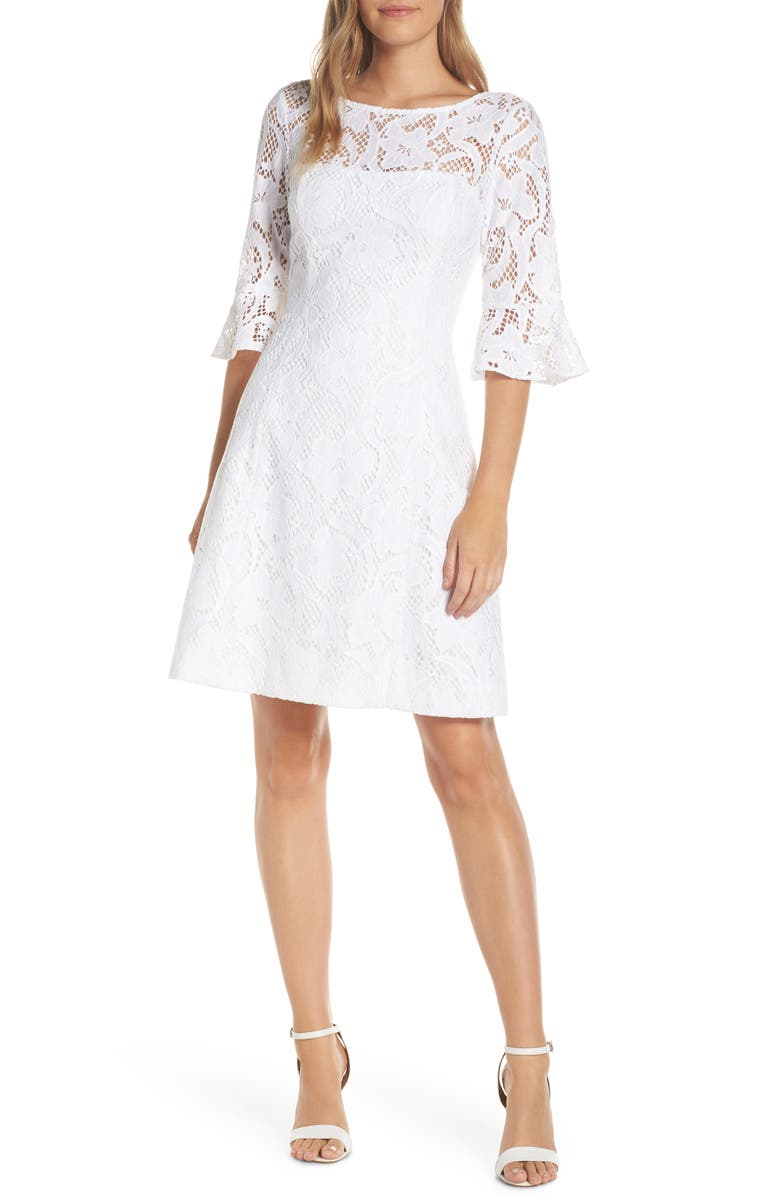 LILLY PULITZER<SUP>®</SUP> Allyson Lace Fit & Flare Dress, Main, color, RESORT WHITE FLORAL VINES LACE