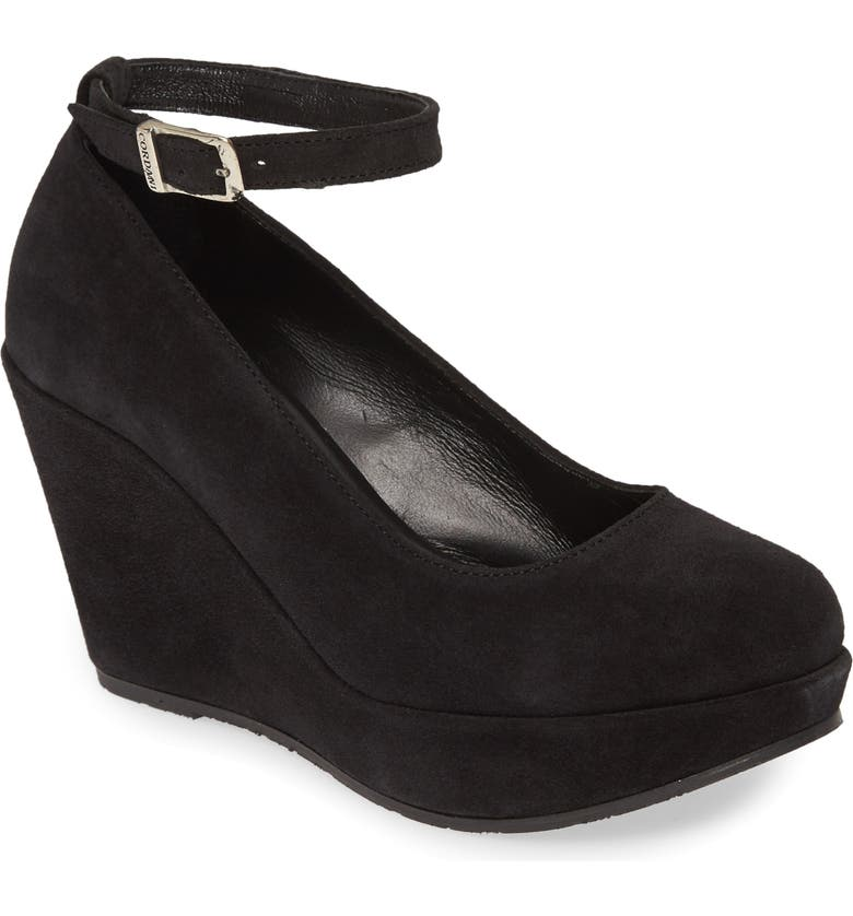 CORDANI Raylene Ankle Strap Wedge Pump, Main, color, BLACK SUEDE