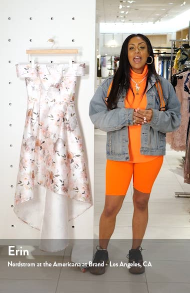 Off the Shoulder High/Low Floral Party Dress, sales video thumbnail
