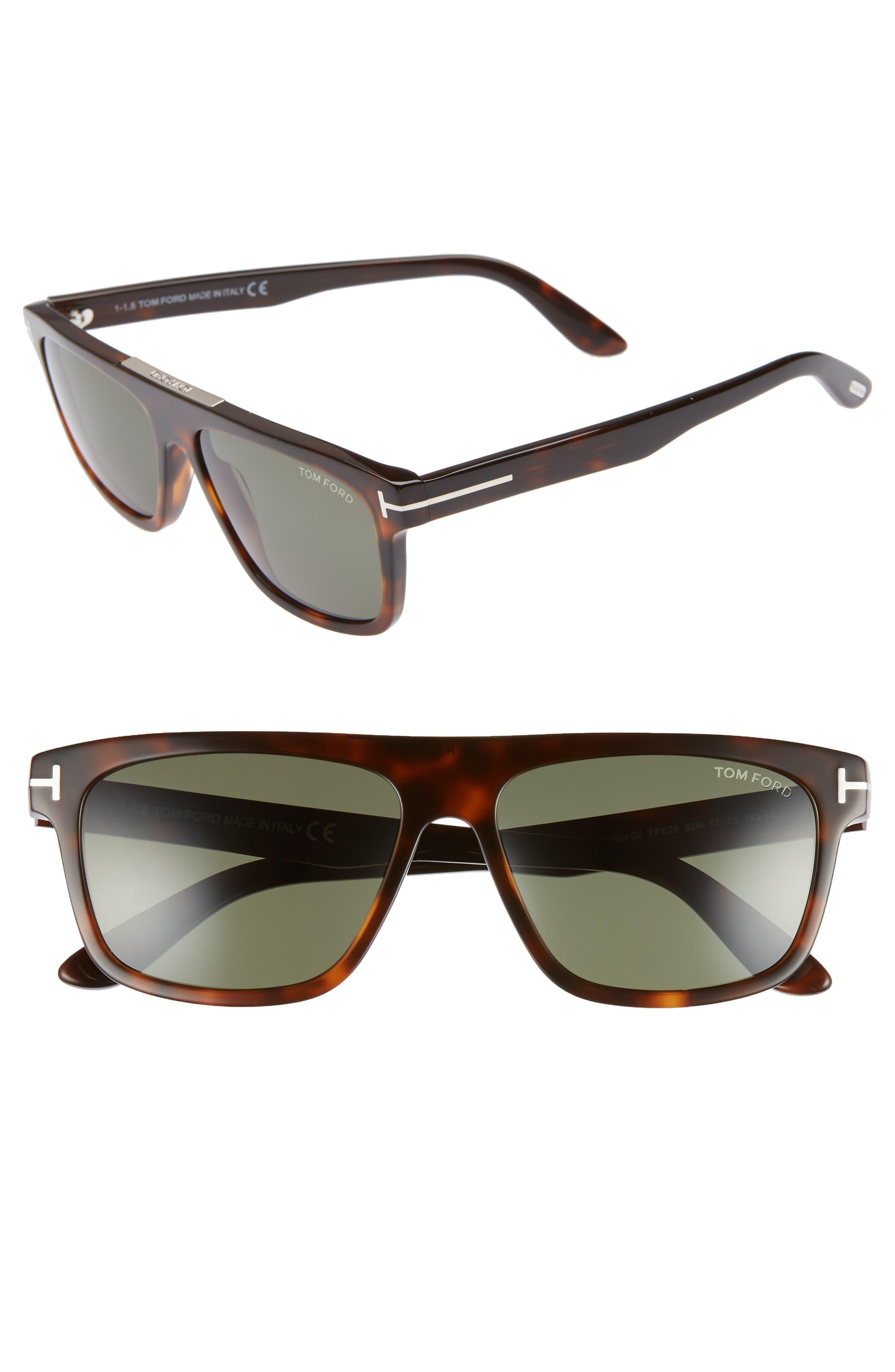 Tom Ford Cecilio 57Mm Blue Block Optical Glasses - Dark Havana/ Green