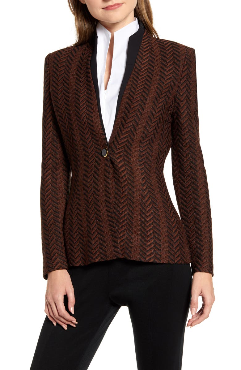 MING WANG Chevron Knit Jacket, Main, color, COGNAC/ BLACK