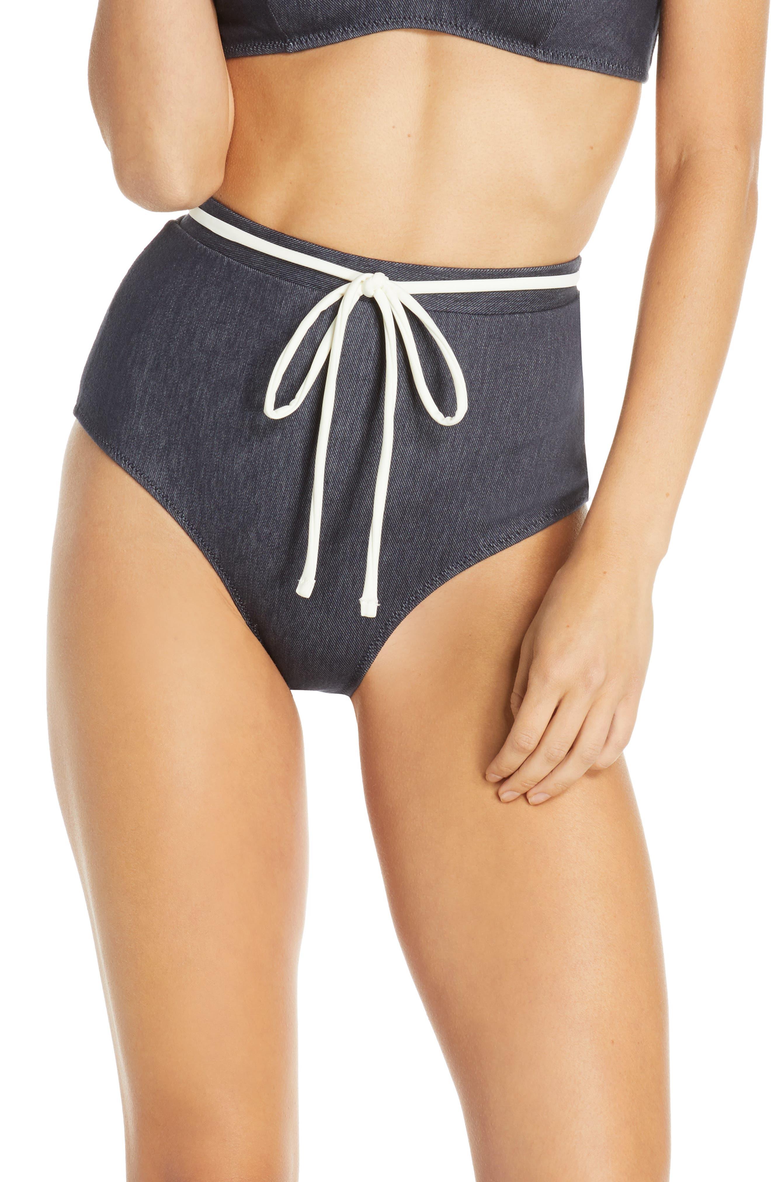 Solid & Striped The Cora High Waist Bikini Bottoms, Blue