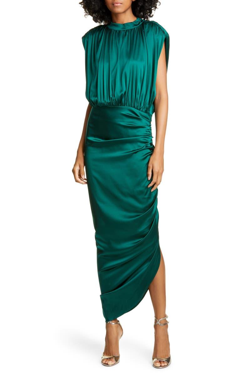 VERONICA BEARD Kendall Ruched Stretch Silk Satin Dress, Main, color, GREEN