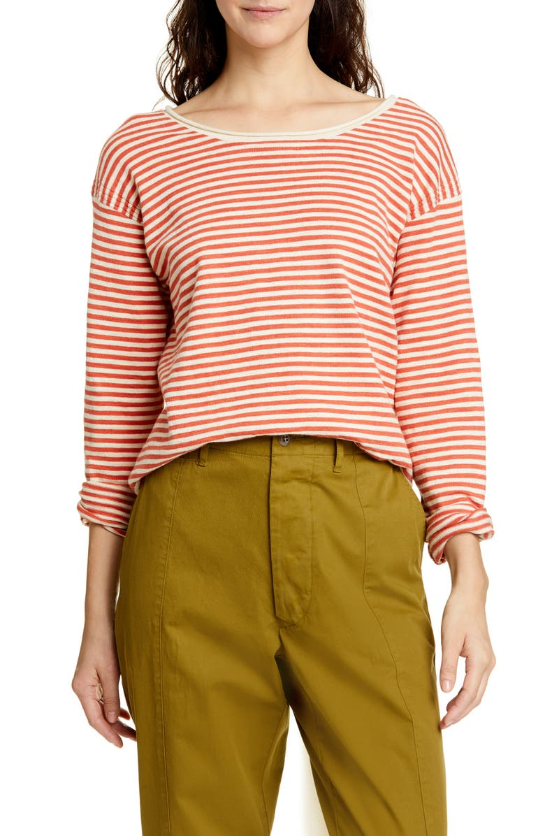 ALEX MILL Roll Neck Stripe Sweater, Main, color, NATURAL/ RED