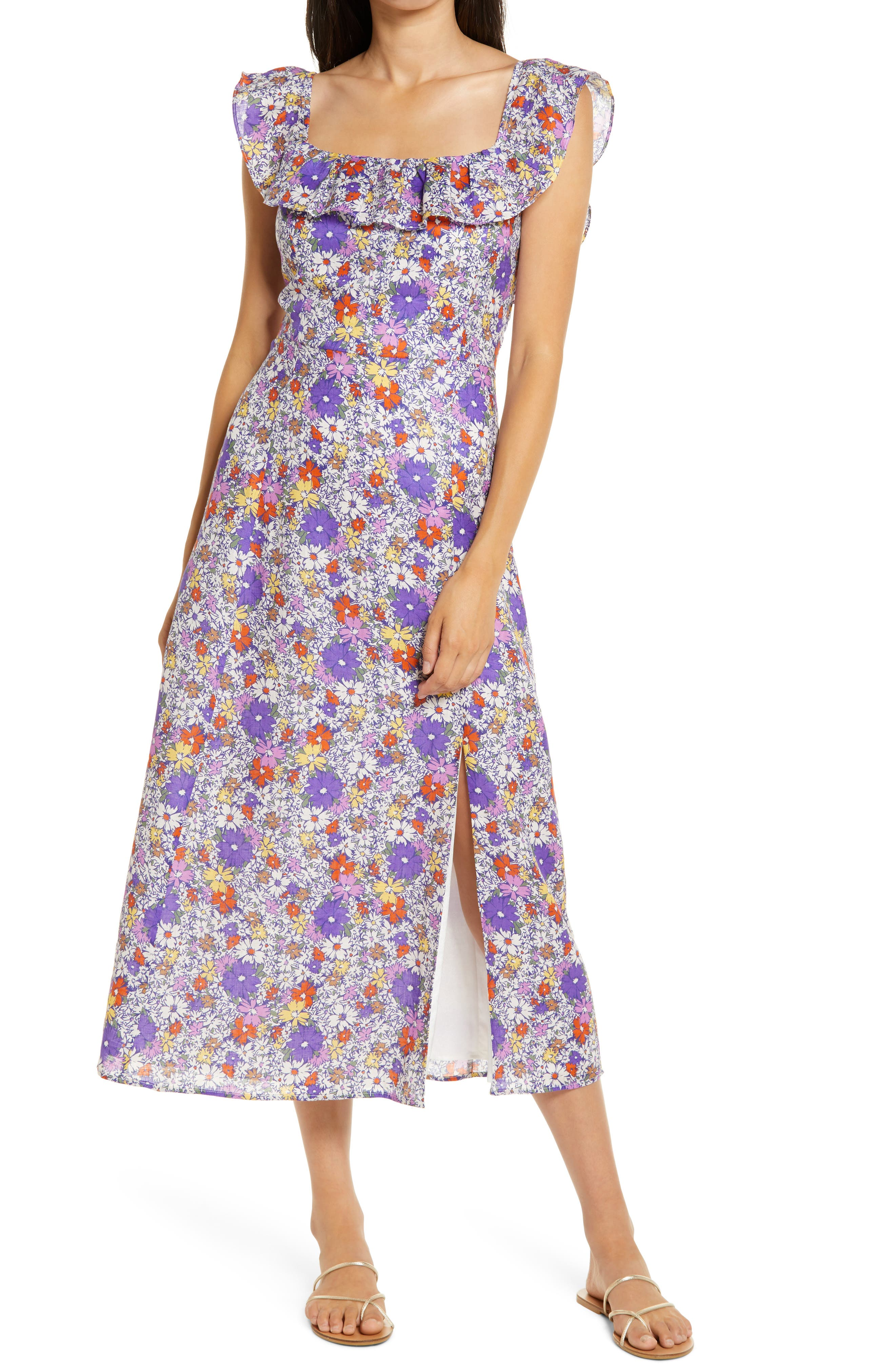 WAYF Ruffle Floral Print Linen Midi Dress