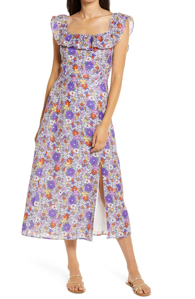 WAYF Ruffle Floral Print Midi Dress, Main, color, PURPLE SKETCH DAISY FLORAL