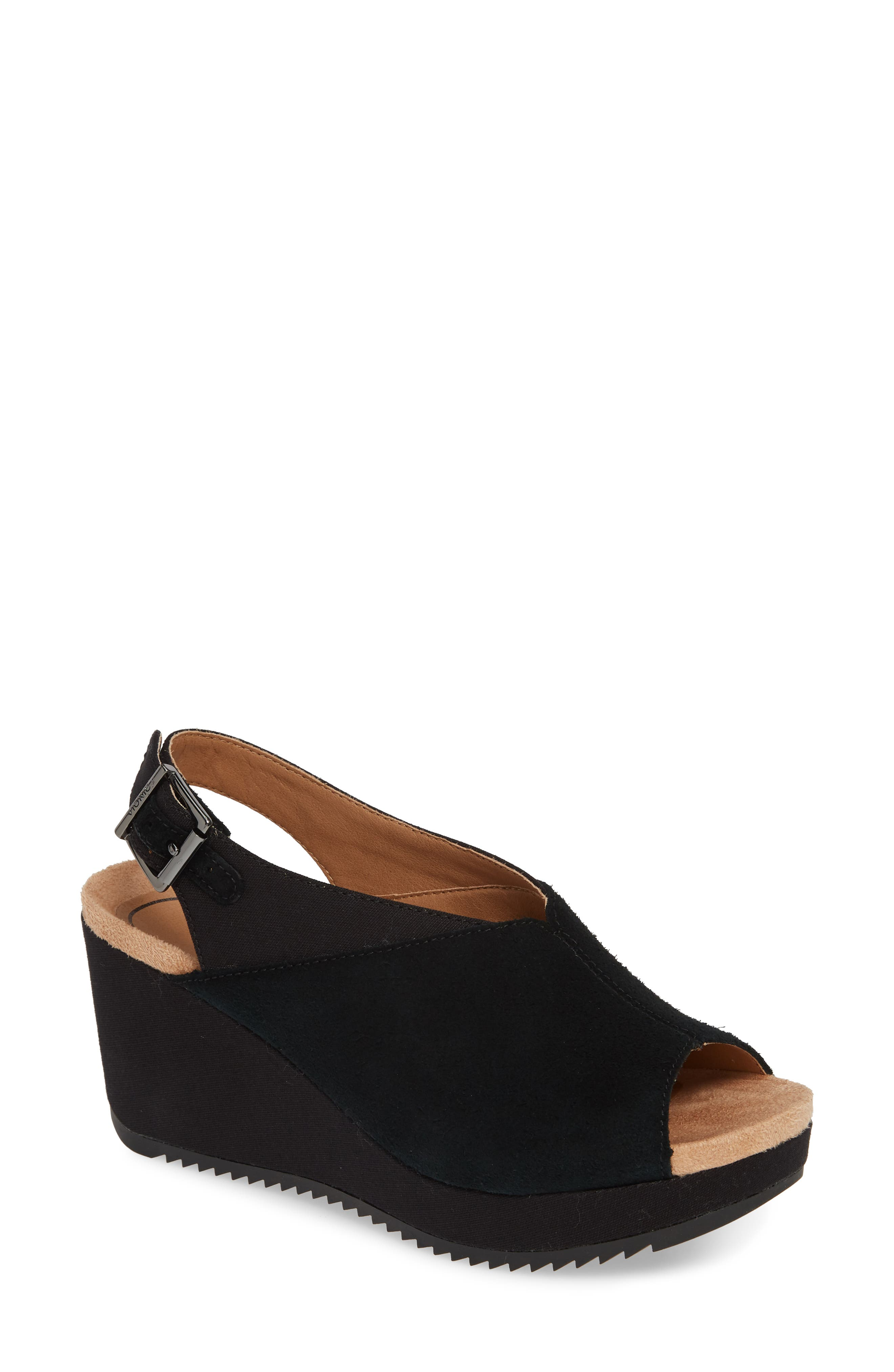 Trixie Slingback Wedge, Main, color, BLACK