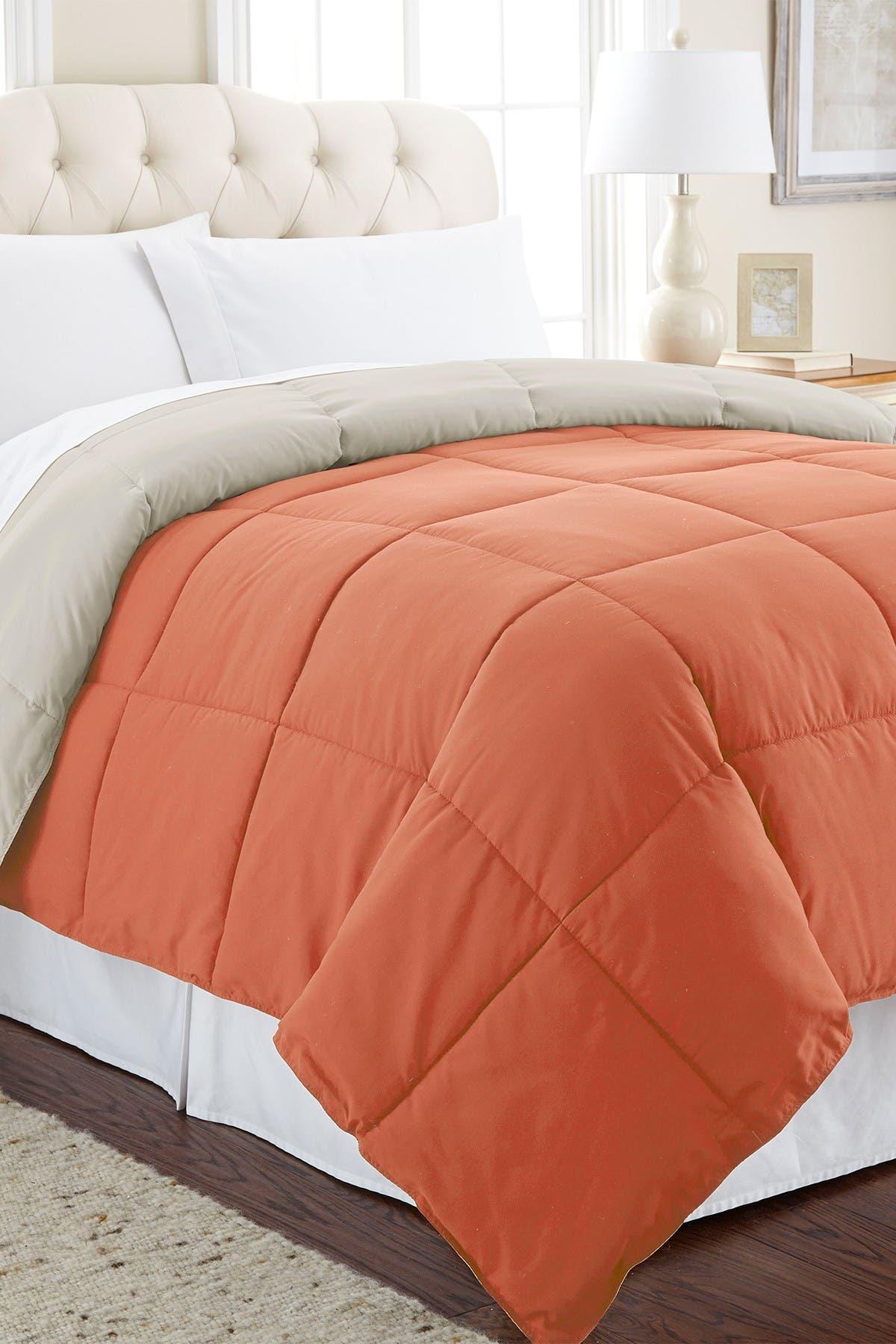Image of Modern Threads Down Alternative Reversible Twin Comforter - Orange Rust/Oatmeal