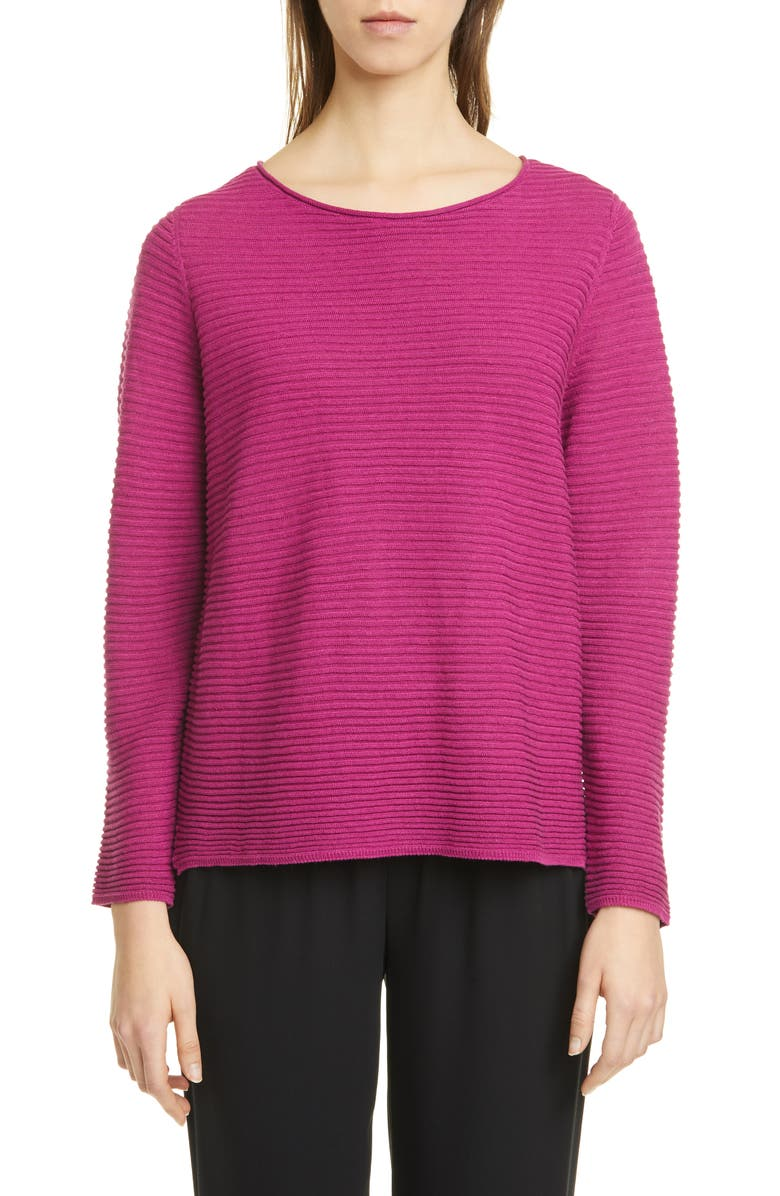 EILEEN FISHER Horizontal Ribbed Organic Linen & Cotton Sweater, Main, color, CERSE