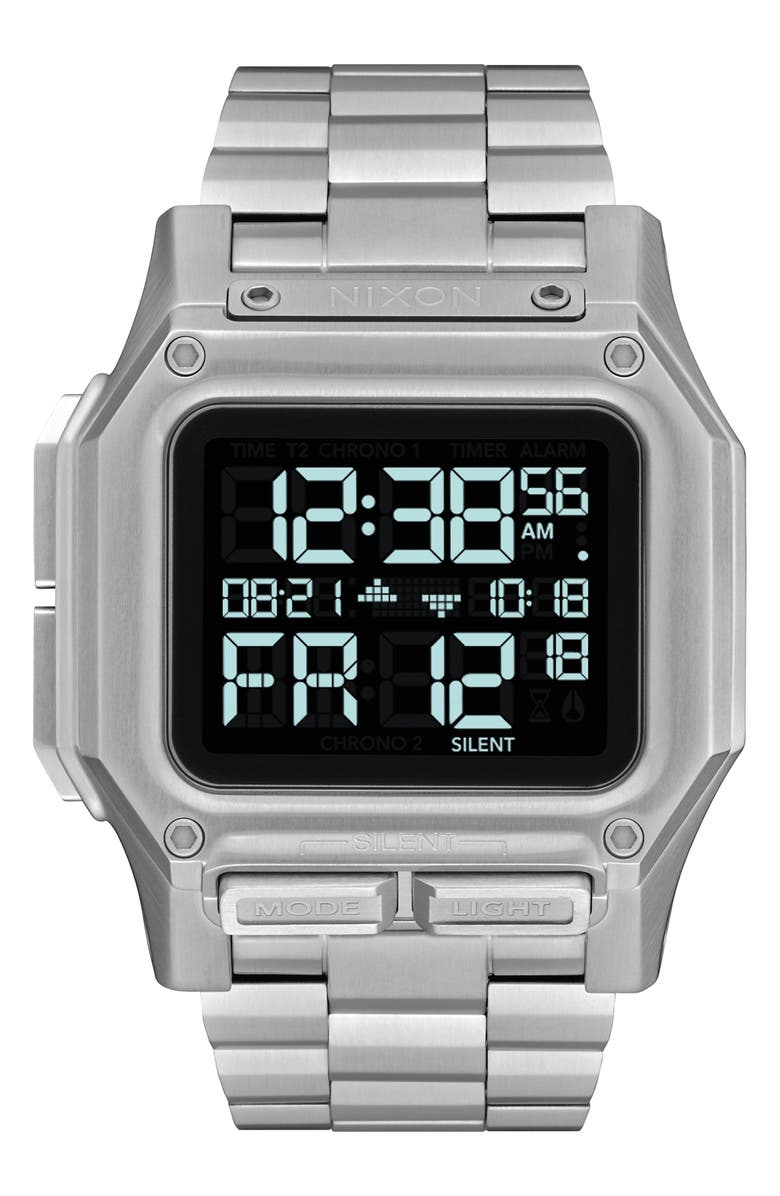 NIXON Regulus Digital Bracelet Watch, 46mm, Main, color, SILVER/ BLACK/ SILVER