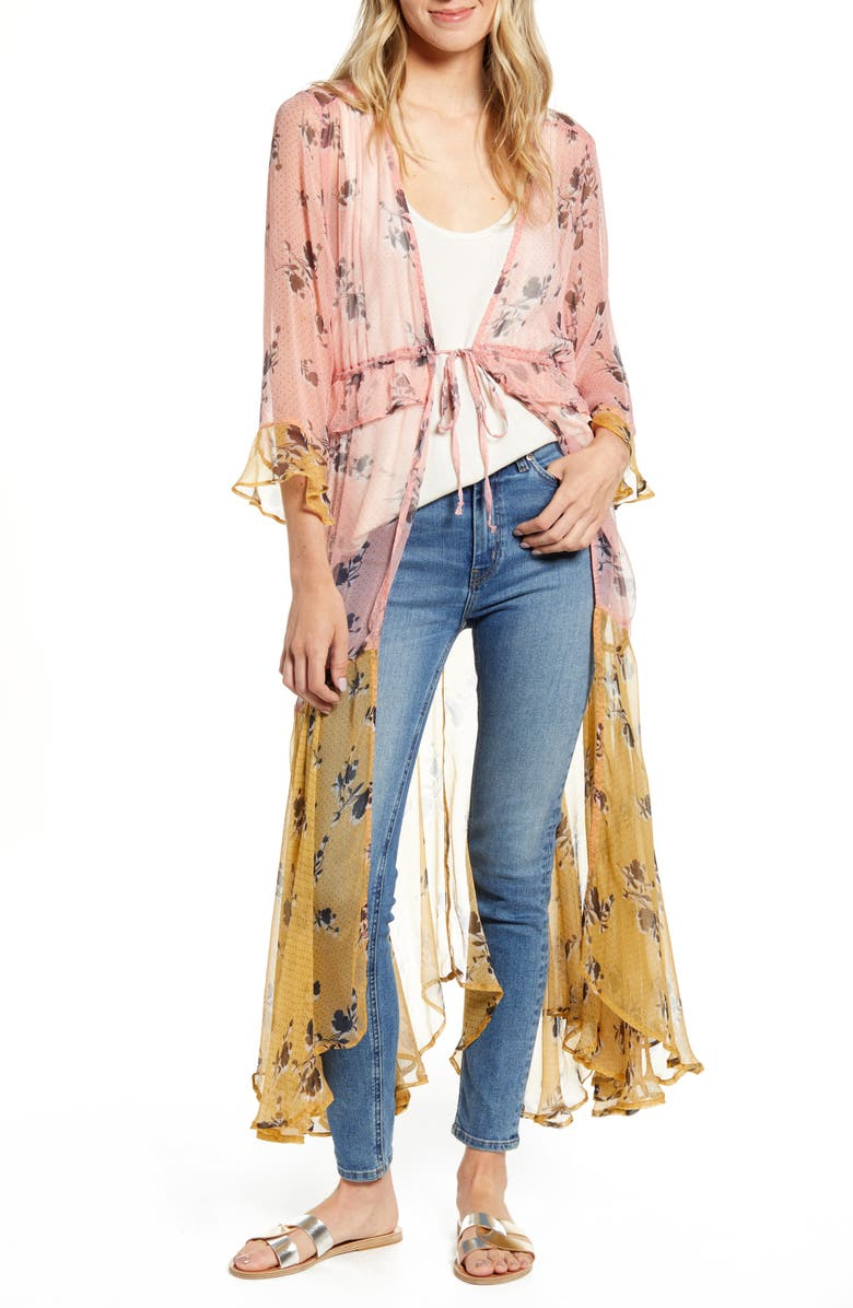 NEW FRIENDS COLONY Felicia Floral Colorblock Sheer Duster, Main, color, DOTTED FLORAL PRINT