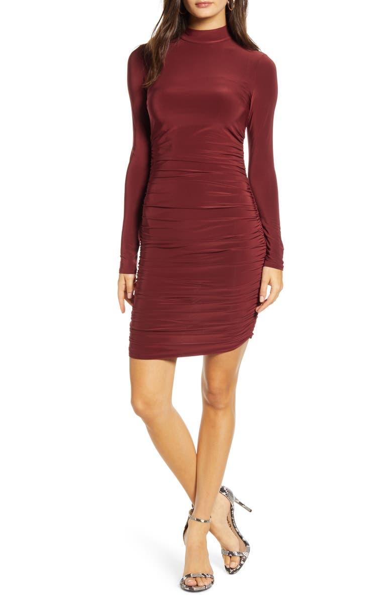 TIGER MIST Bridget Ruched Long Sleeve Body-Con Minidress, Main, color, PLUM