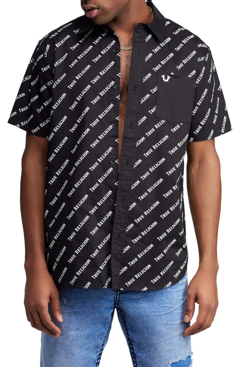 TRUE RELIGION BRAND JEANS All Over Woven Shirt, Main, color, BLACK