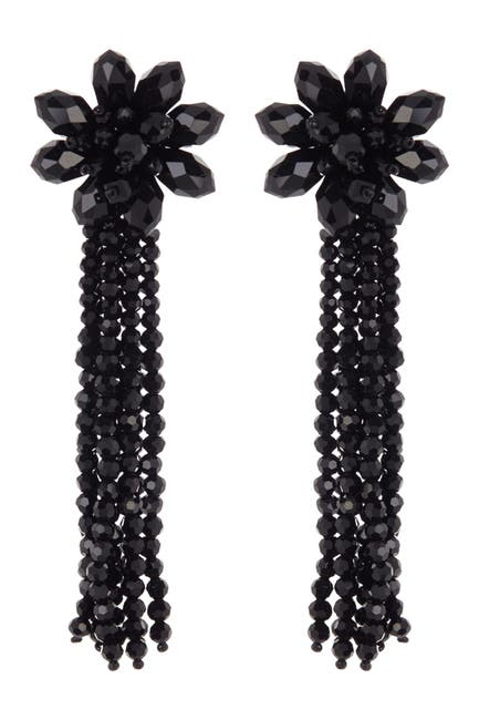 Image of kate spade new york crystal flower tassel statement earrings