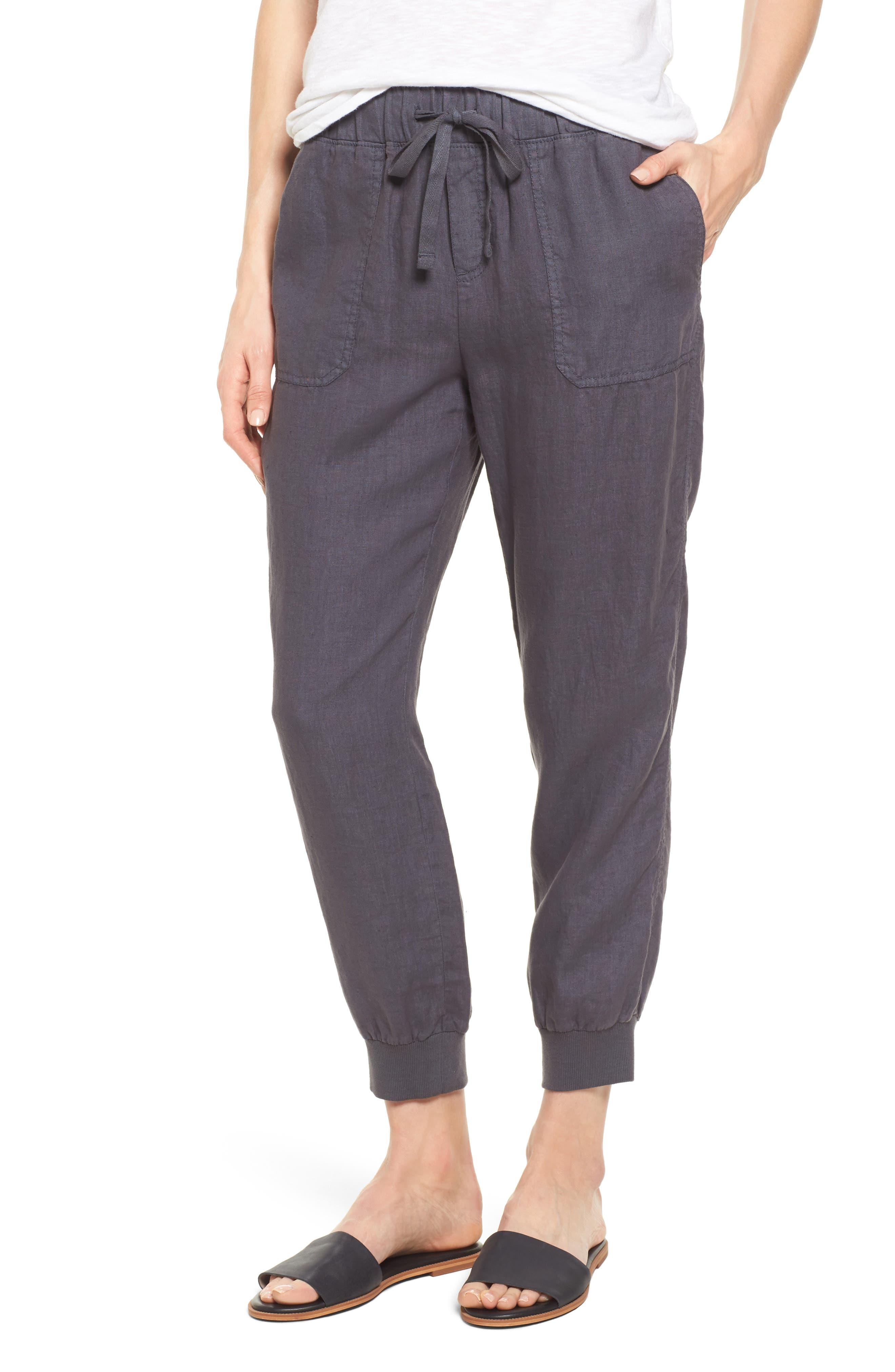 Linen Jogger Pants, Main, color, GREY EBONY