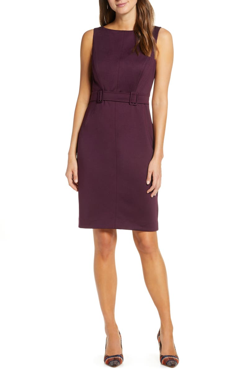 VINCE CAMUTO Laguna Crepe Belted Dress, Main, color, AUBERGINE