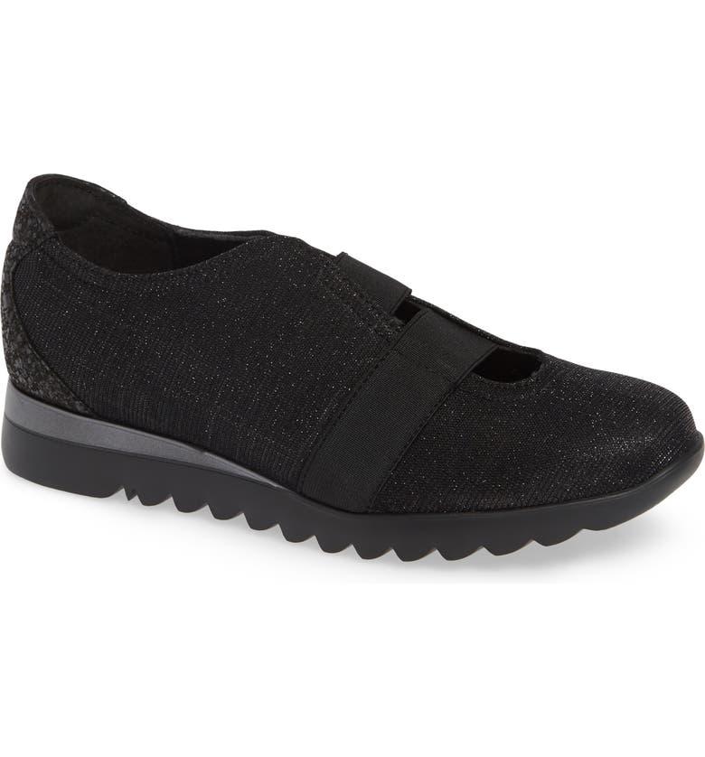 MUNRO Alta Slip-On Sneaker, Main, color, BLACK SPARKLE FABRIC