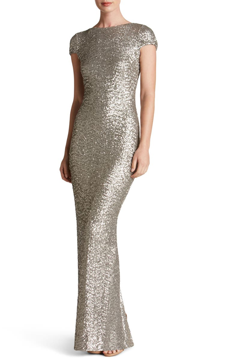 DRESS THE POPULATION Teresa Body-Con Gown, Main, color, 041