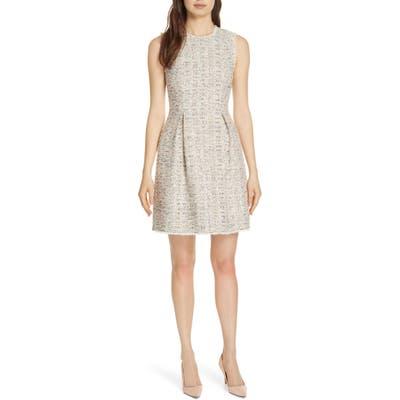 Rebecca Taylor Rainbow Tweed Fit & Flare Dress, Ivory