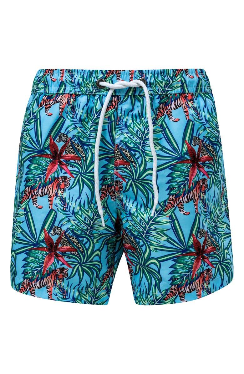 SNAPPER ROCK Jungle Fever Swim Trunks, Main, color, OPEN BLUE