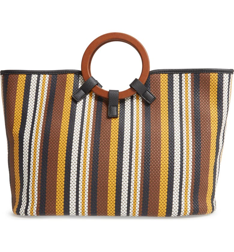 SONDRA ROBERTS Stripe Woven Wood Handle Tote, Main, color, 200