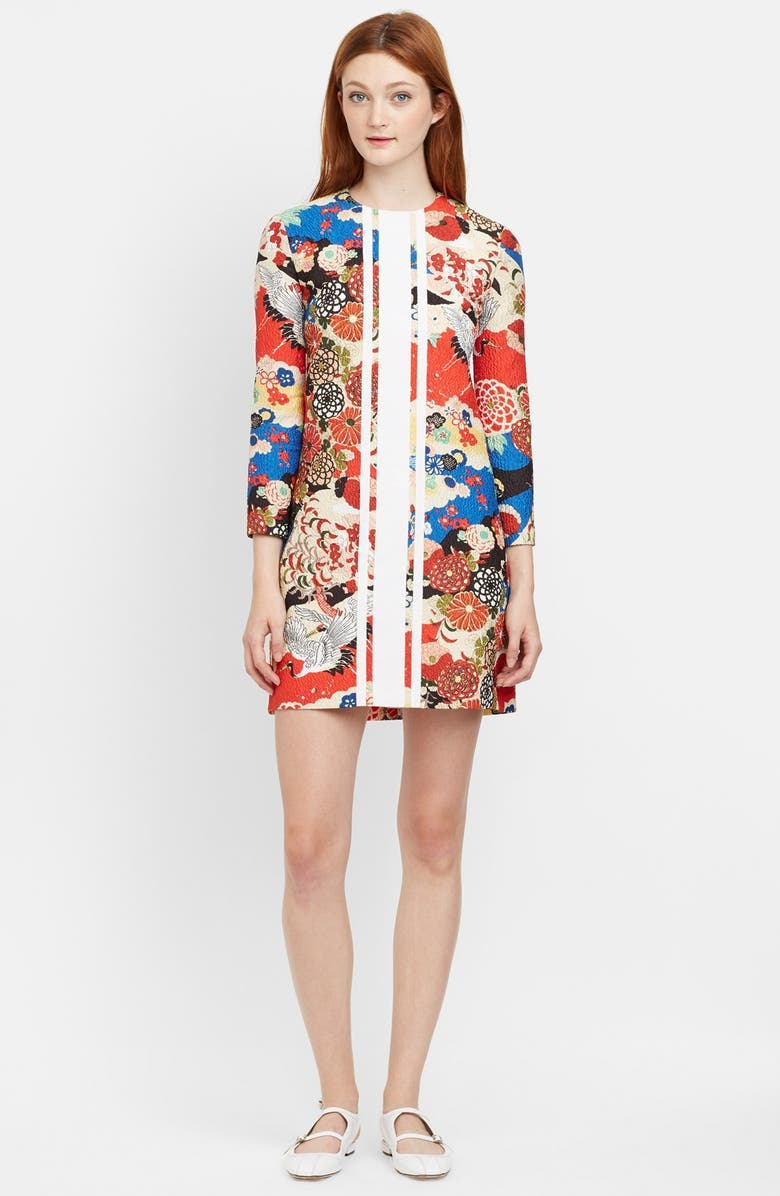 CARVEN Quilted Floral Shift Dress, Main, color, 600
