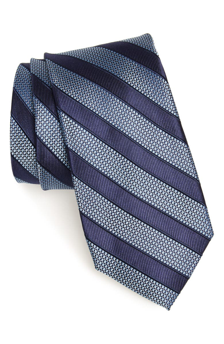 NORDSTROM MEN'S SHOP Crawford Stripe Silk & Cotton Tie, Main, color, BLUE