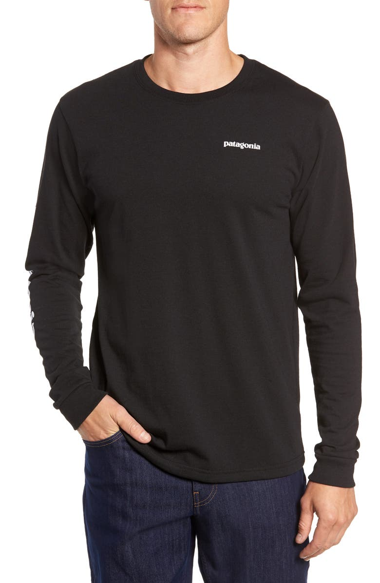 PATAGONIA Long Sleeve Logo T-Shirt, Main, color, BLACK