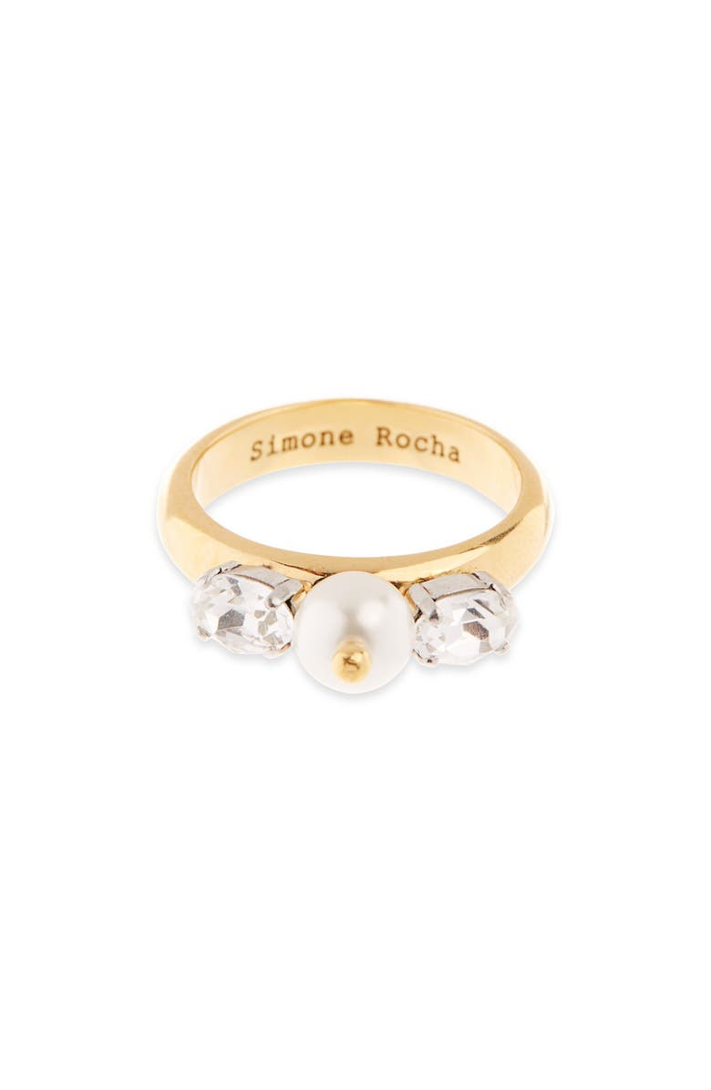 SIMONE ROCHA Crystal & Imitation Pearl Ring, Main, color, 100