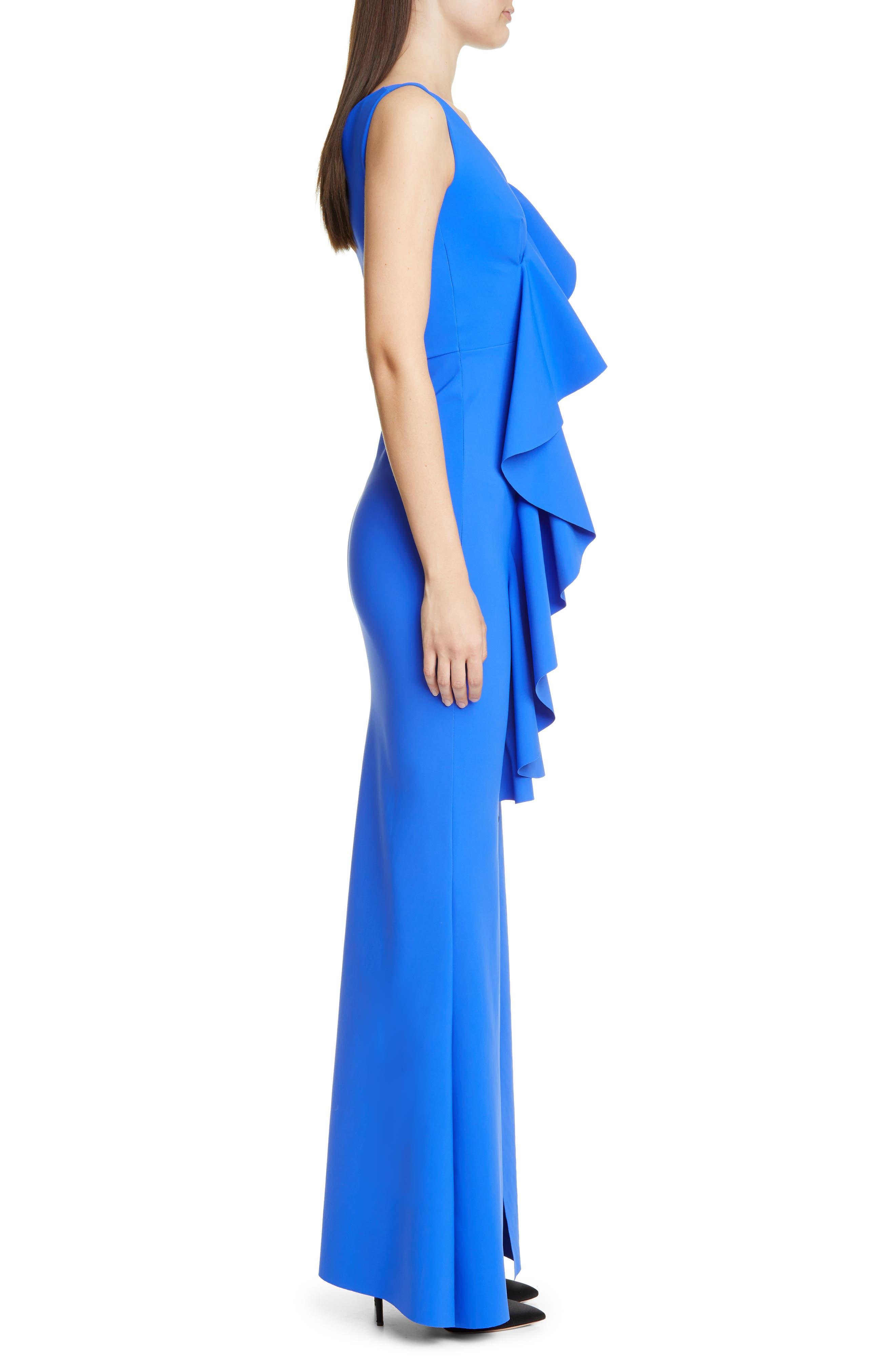 ,                             Janka Ruffle Evening Gown,                             Alternate thumbnail 3, color,                             BLUE