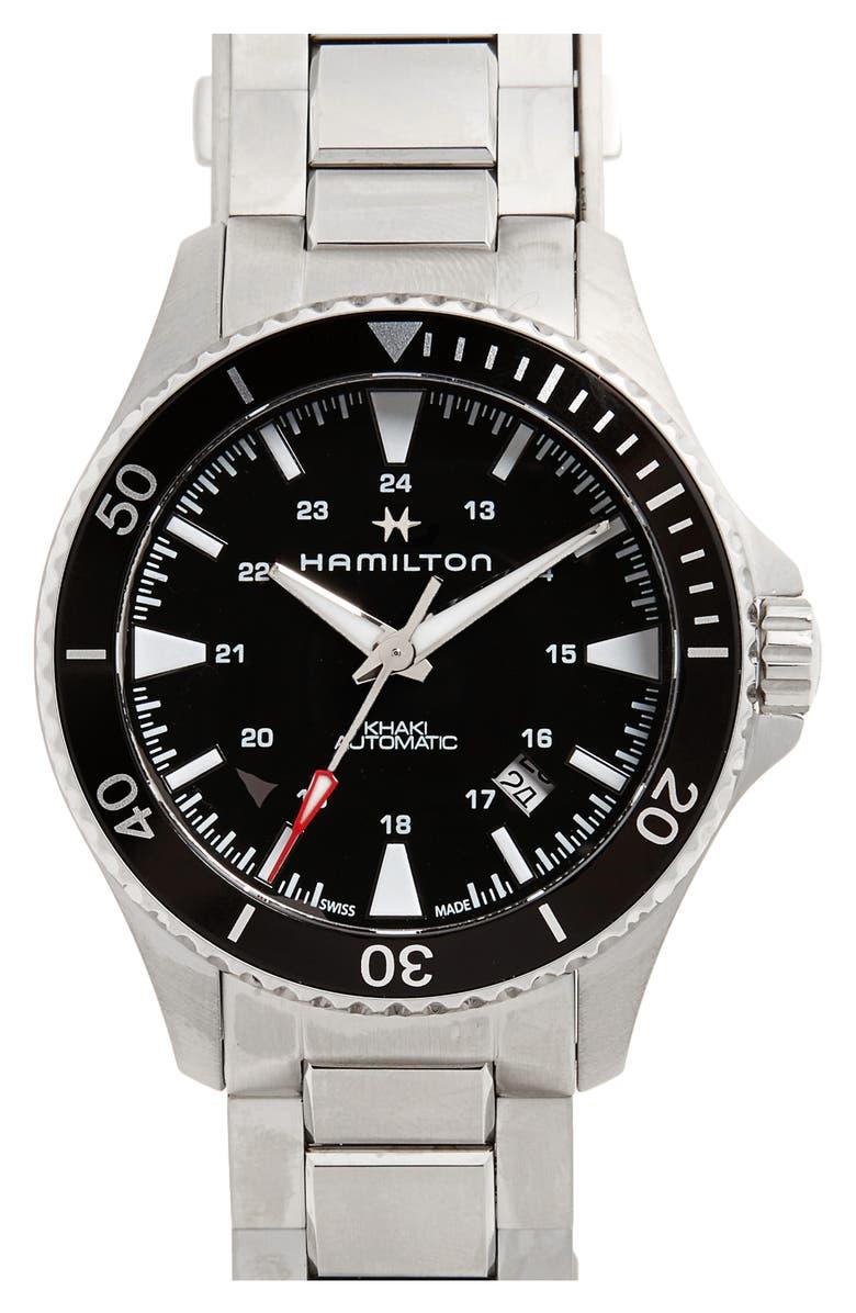 HAMILTON Khaki Automatic Bracelet Watch, 40mm, Main, color, SILVER/ BLACK/ SILVER