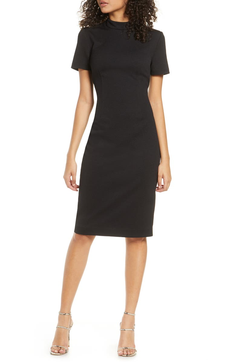 CHELSEA28 Mock Neck Sheath Dress, Main, color, 001