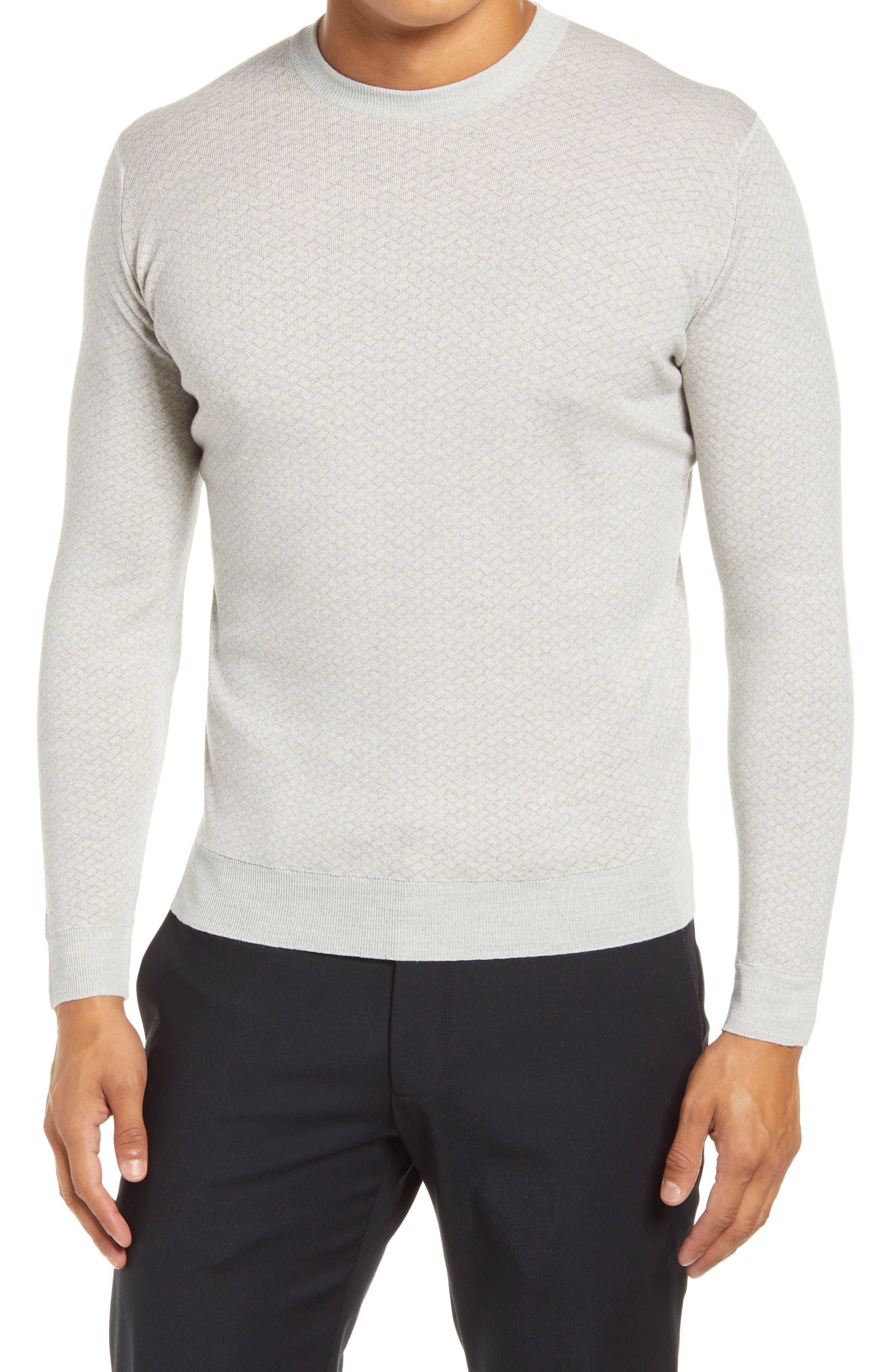 Geo Pattern Crewneck Merino Wool Sweater