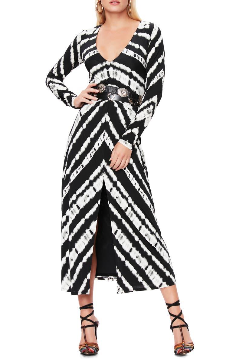 AFRM Zoey Animal Print Long Sleeve Dress, Main, color, CHEVRON TIE DYE