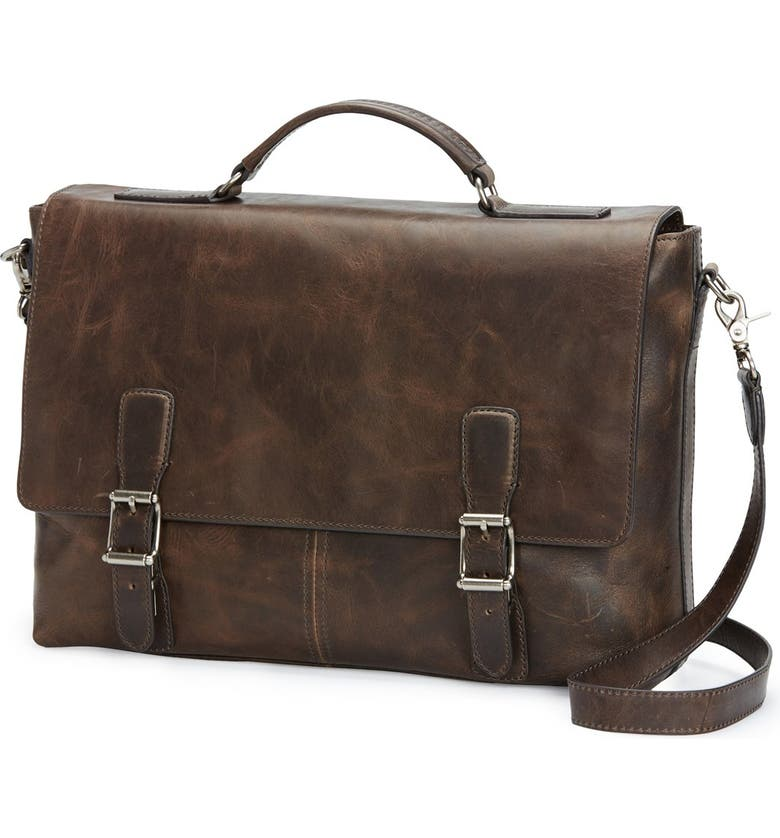 FRYE Logan Leather Briefcase, Main, color, SLATE