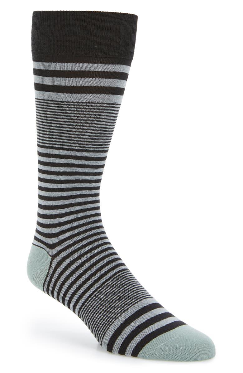 COLE HAAN Skater Stripe Socks, Main, color, BLACK