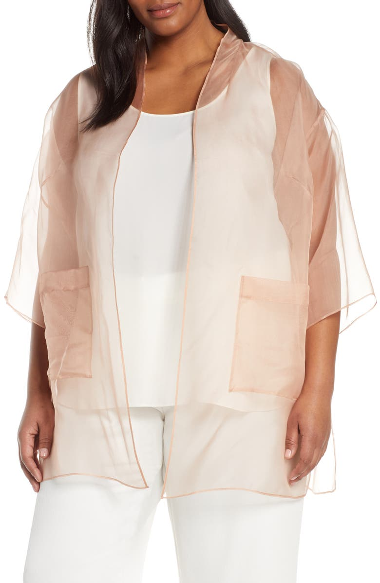 EILEEN FISHER Sheer Silk Open Front Jacket, Main, color, 200
