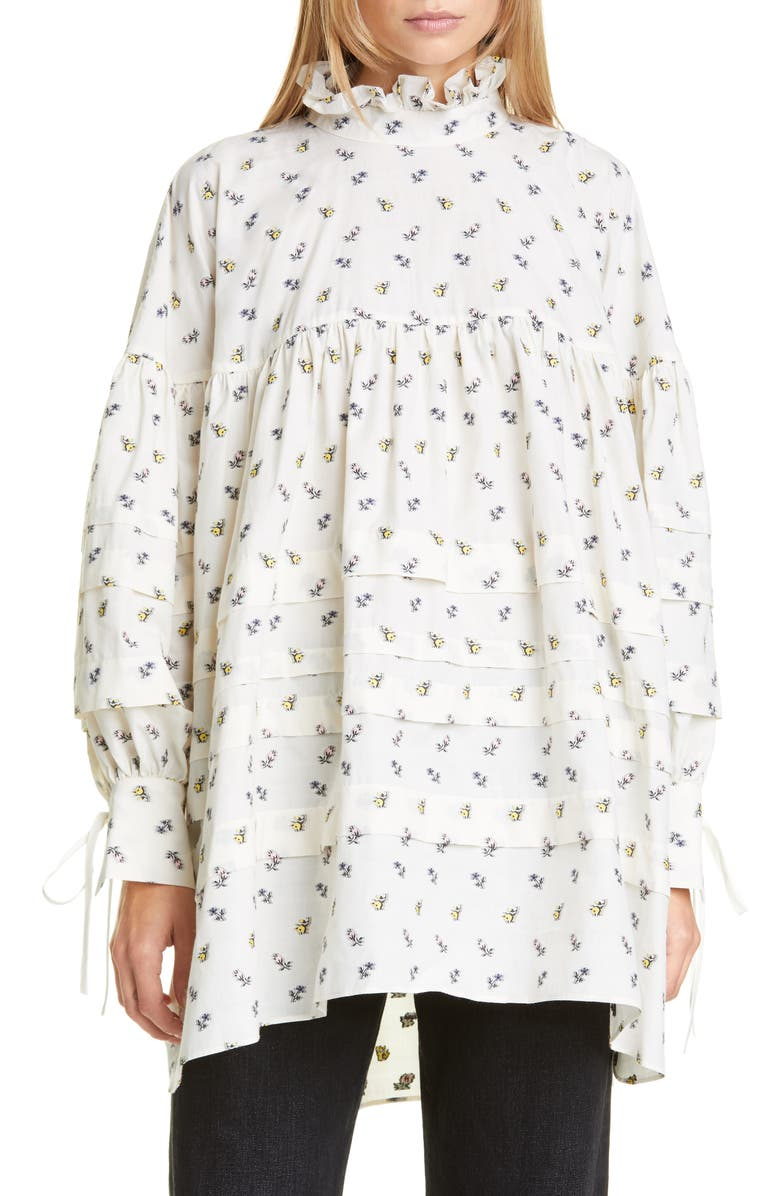 CECILIE BAHNSEN Alberte Pleated Floral Poplin Tunic Shirt, Main, color, IVORY/ LIGHT PINK