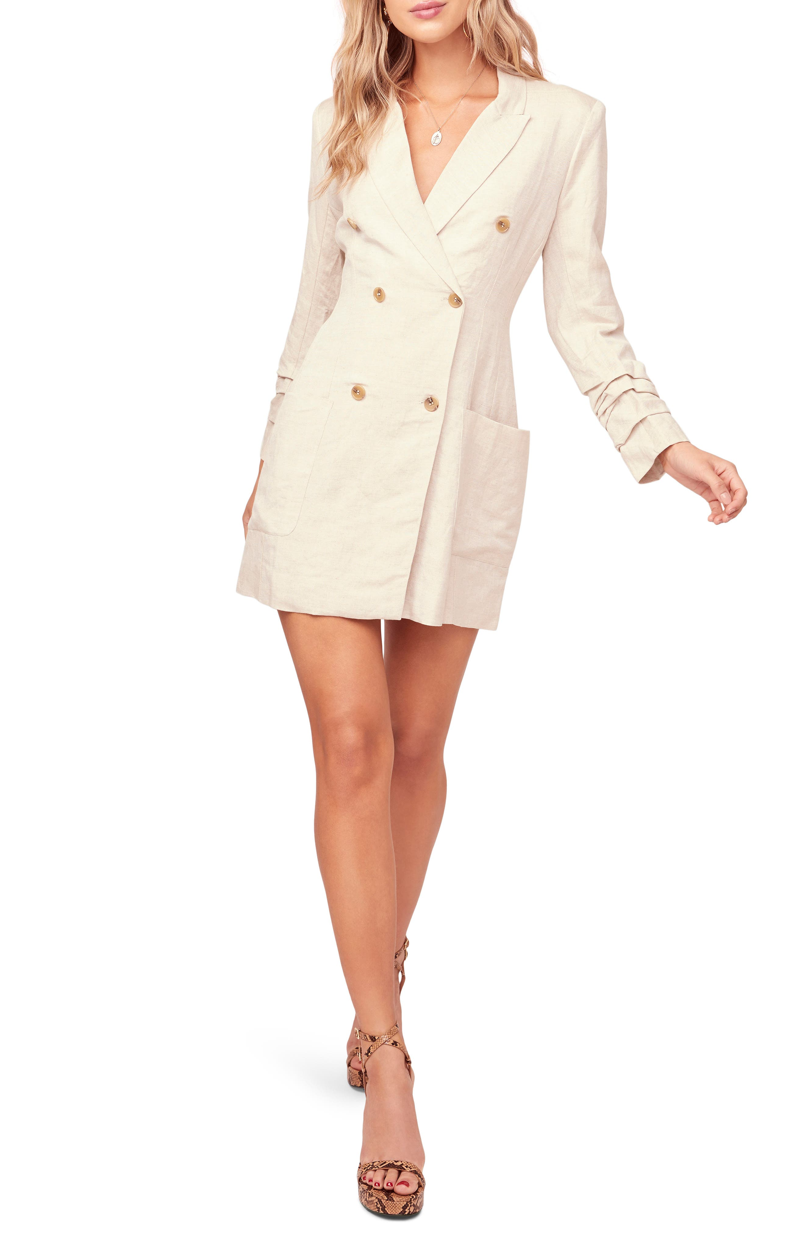 Astr The Label Verona Long Sleeve Linen Blend Blazer Minidress, Beige
