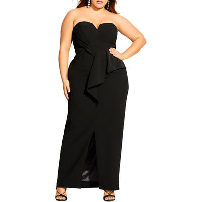 Plus Size City Chic Strapless Gown, Black