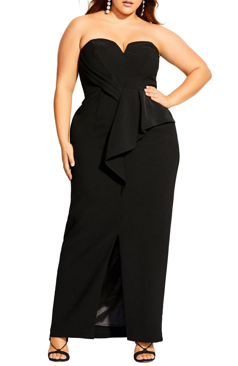 CITY CHIC Strapless Gown, Main, color, BLACK