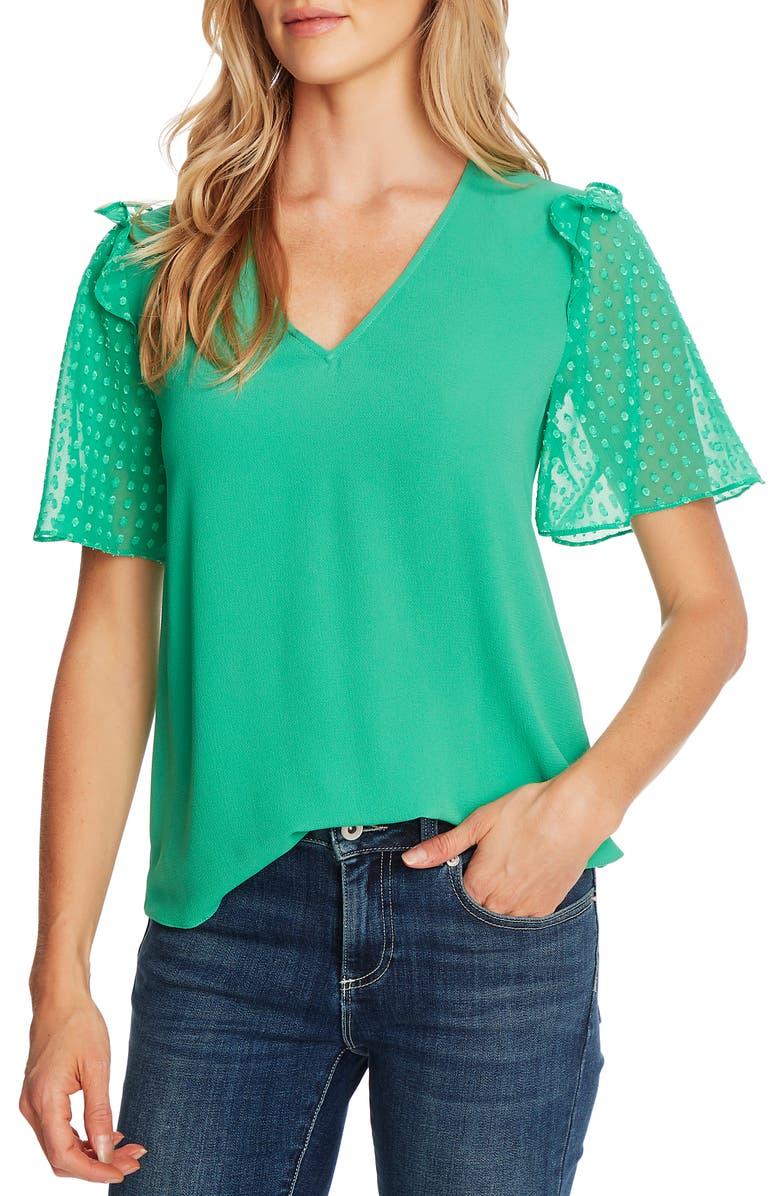 CECE Clip Dot Sleeve Blouse, Main, color, JASMINE GRN