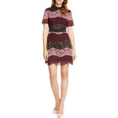 Ted Baker London Jaseyy Paneled Lace Cocktail Dress, (fits like 4-6 US) - Red